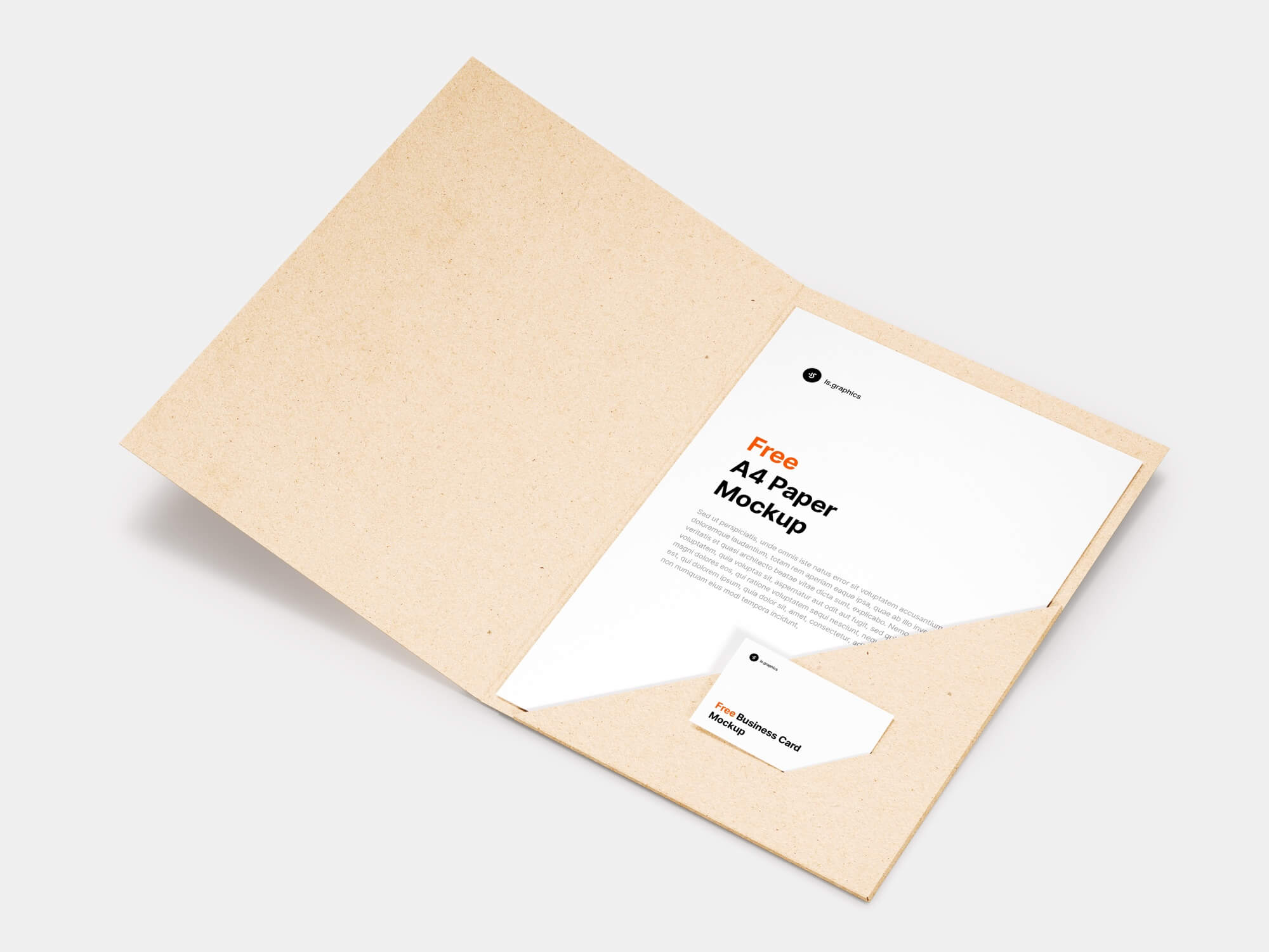 Free Download A4 Paper Folder and Business Card Mockup