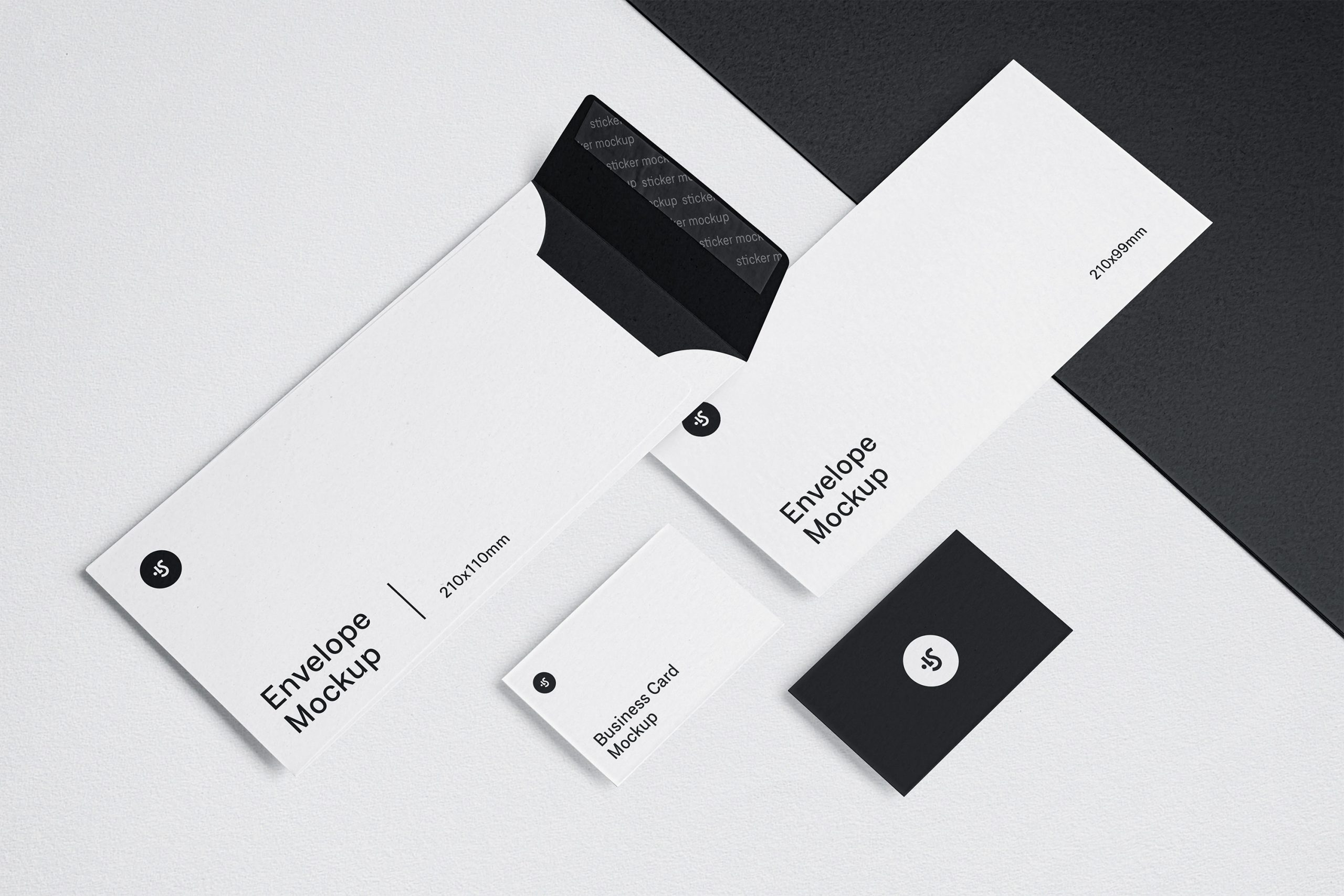 Free Download Changeable Color Envelope and Business Card Mockup