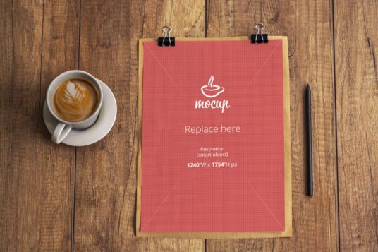 Free Download Clipped Paper Mockup PSD