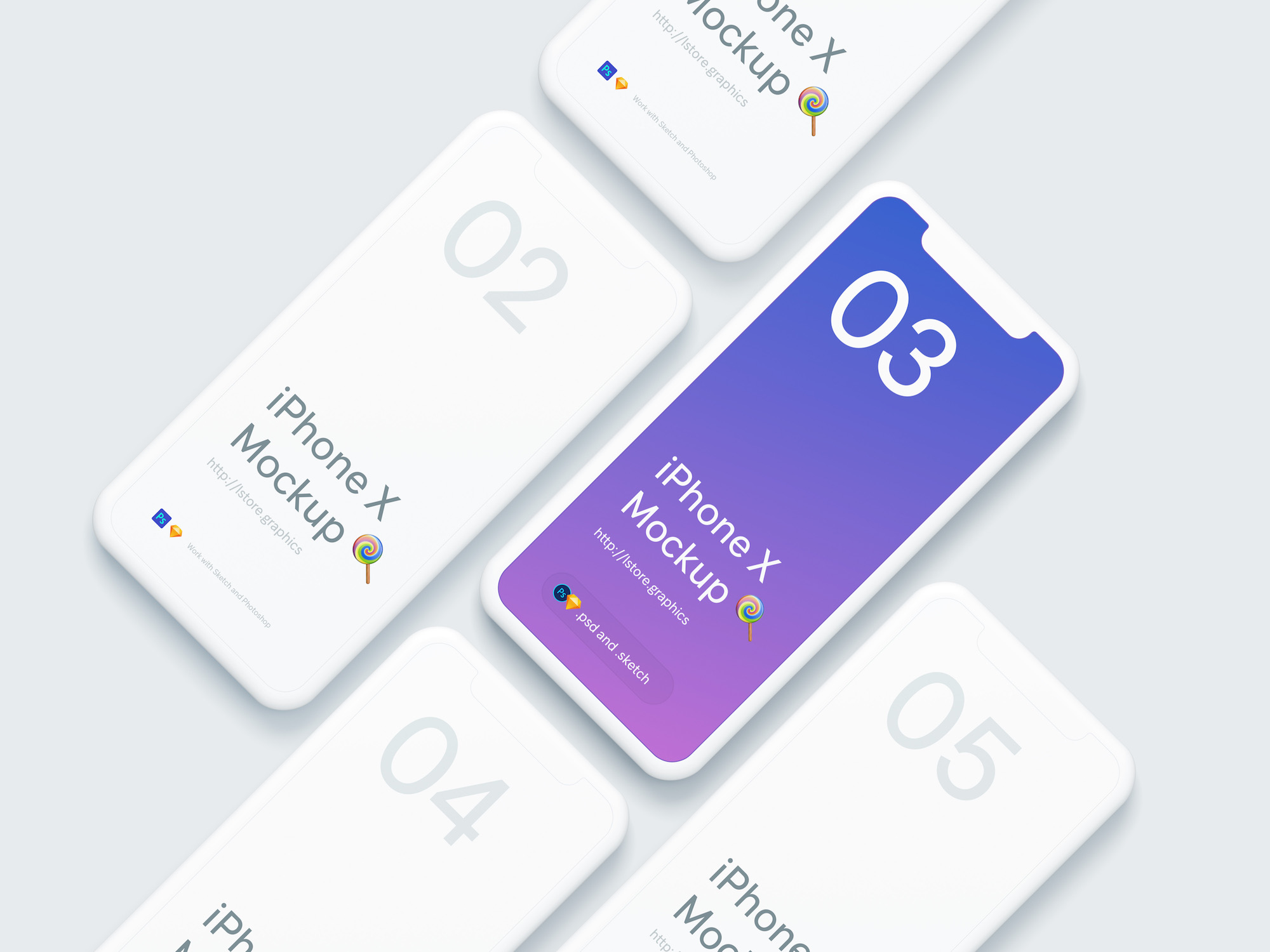 Free Download Colorful iPhone X Mockup PSD Sketch