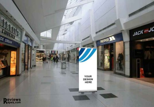Free Download Indoor Shopping Mall Banner Mockup PSD