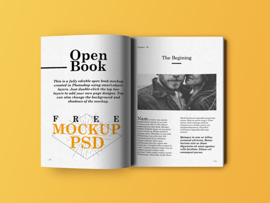 Free Download Open Book Page Mockup PSD