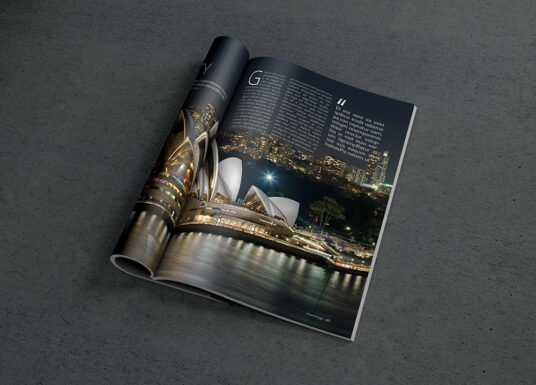 Free Download Rolled Magazine Mockup PSD