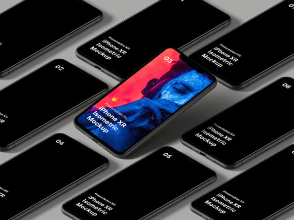Fre Download Isometric iPhone Screen Mockup PSD