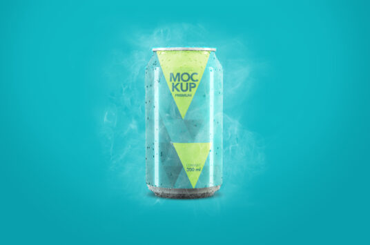 Free Cold Soda Can Packaging Mockup PSD