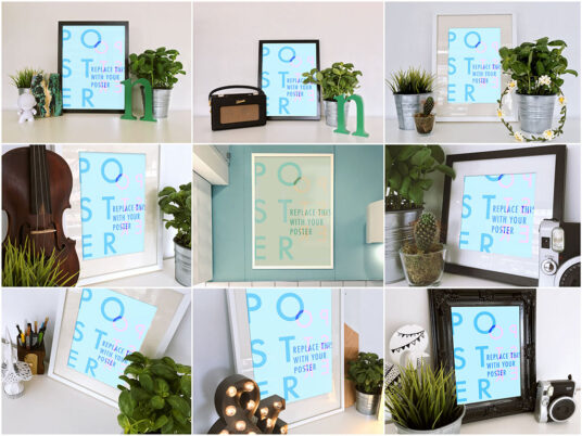 Free Download 13 Realistic Poster Frames Mockup PSD