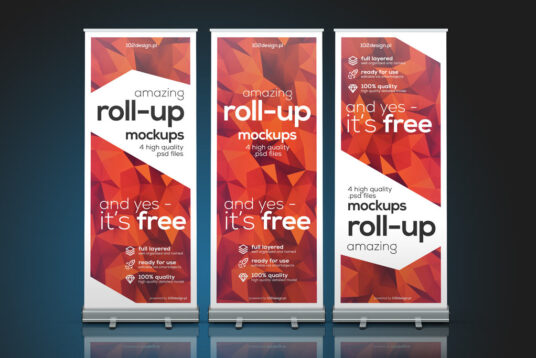 Free Download 3 Roll Banner Mockup PSD