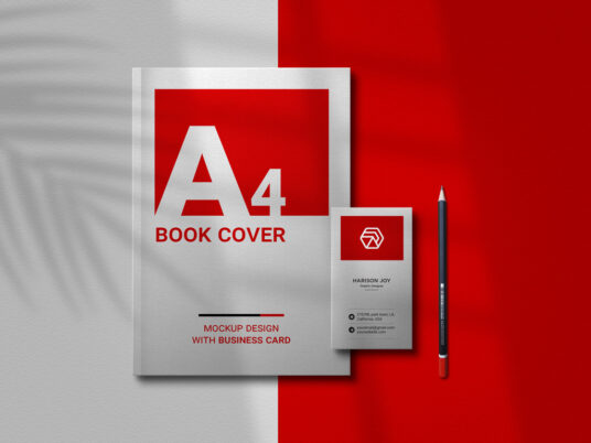 Free Download A4 Book & Business Card Mockup PSD