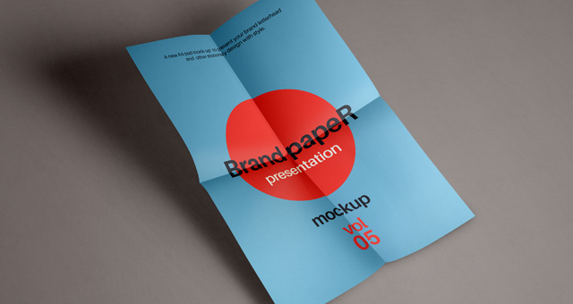Free Download A4 Folded Paper Mockup PSD