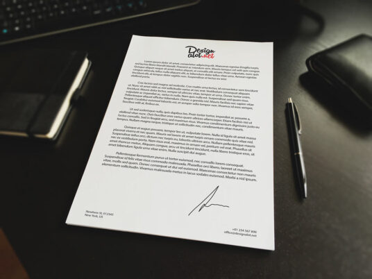 Free Download A4 Letter Paper Mockup PSD