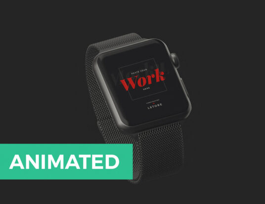 Free Download Animated Black Apple Watch Mockup PSD