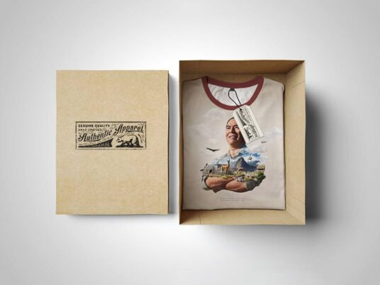 Free Download Authentic Apparel Box Packaging Mockup PSD