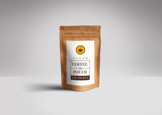 Free Download Brown Coffee Pouch Mockup PSD