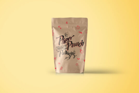 Free Download Brown Paper Pouch Mockup PSD
