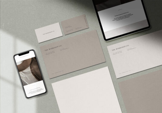 Free Download Clean Stationery Branding Mockup PSD