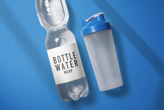Free Download Clear Water Bottle Packaging Mockup PSD
