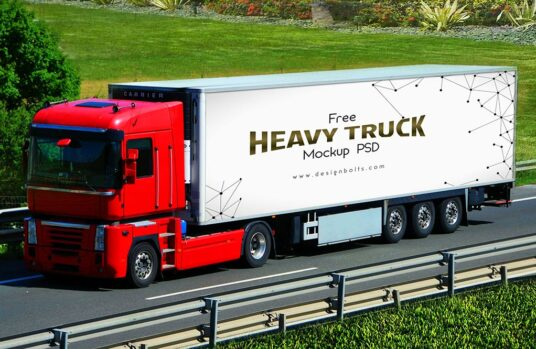 Free Download Container Truck Design Mockup PSD