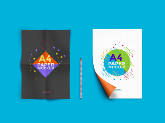 Free Download Double A4 Paper Mockup PSD