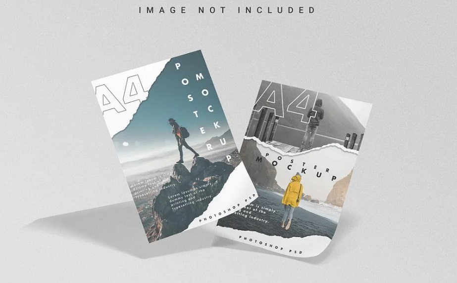Free Download Floating A4 Poster Mockup PSD