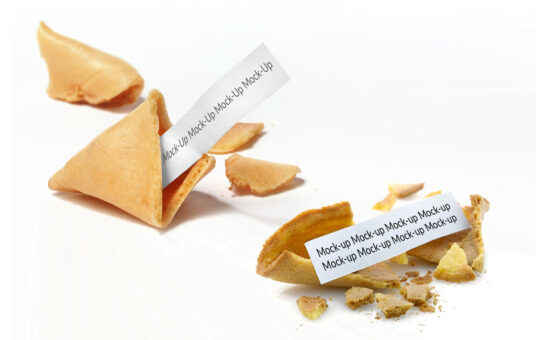 Free Download Fortune Cookie Paper Message Mockup PSd