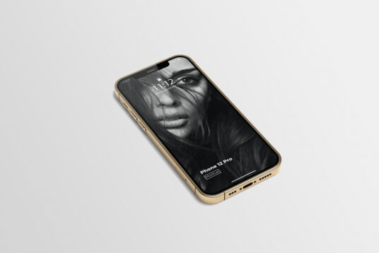 Free Download Gold iPhone 12 Mockup PSD
