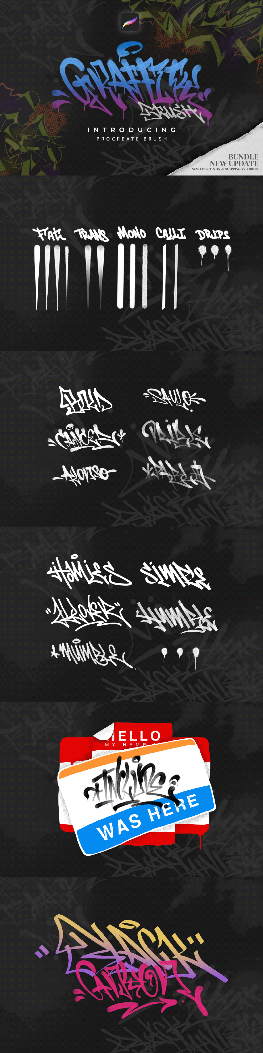 Free Download Graffiti Procreate Brushes Pack, Great quality and easy to use this brushes for your awesome design project. High resolution. 100% free!