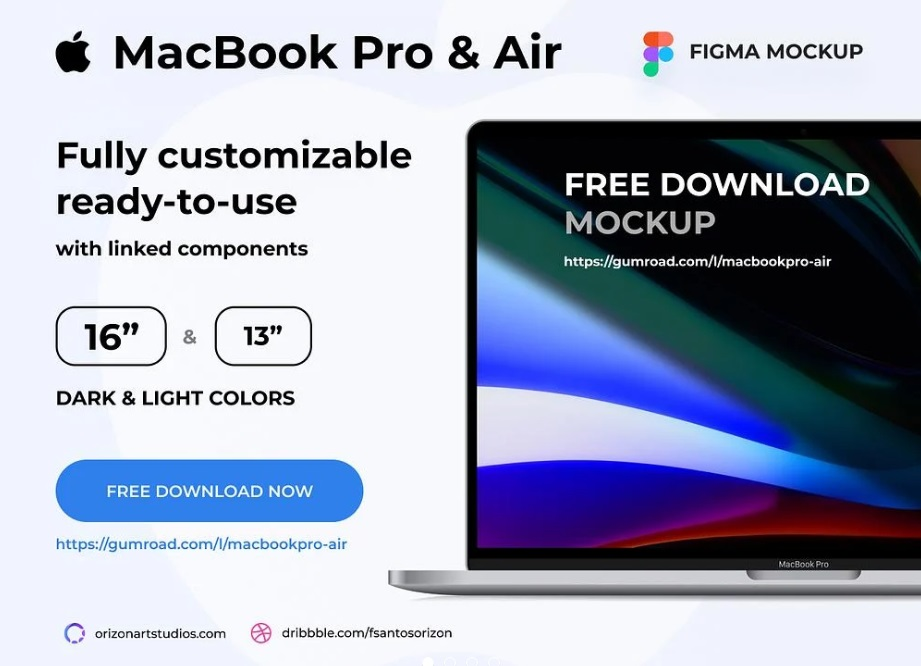 Free Download Macbook Pro and Air Figma Mockup PSD
