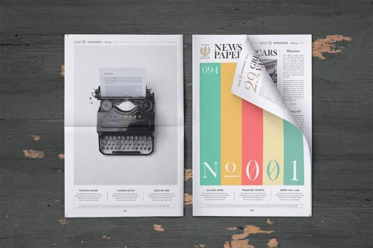 Free Download Newspaper Cover Mockup PSD