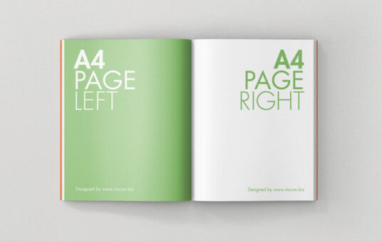 Free Download Open A4 Book Page Mockup PSD
