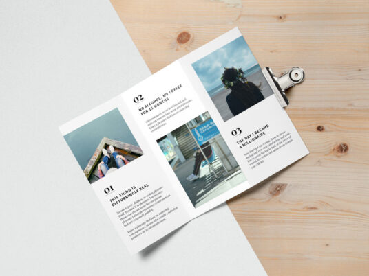 Free Download Openned Trifold Brochure Mockup PSD