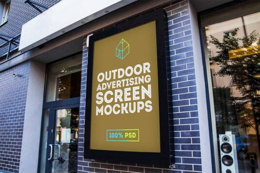 Free Download Outdoor Ads Screen Mockup PSD