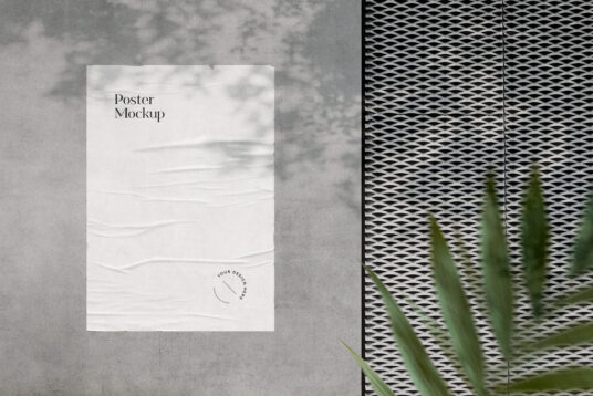 Free Download Paper Poster on Wall Mockup PSD