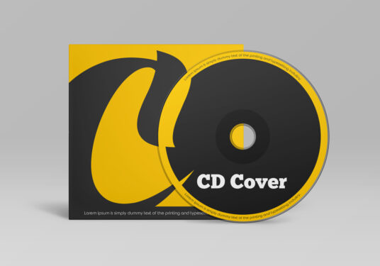 Free Download Realistic CD Cover Packaging Mockup PSD