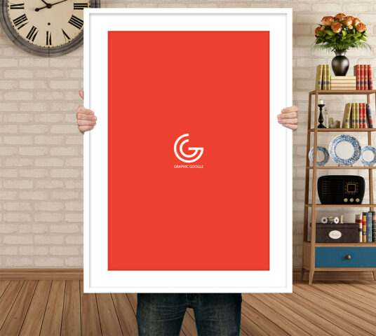 Free Download Realistic Holding Poster Mockup PSD