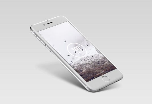 Free Download Silver iPhone mockup PSD