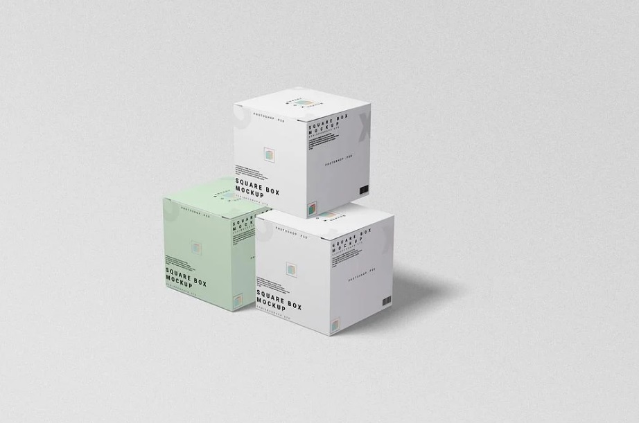 Free Download Square Box Cosmetic Packaging Mockup PSD