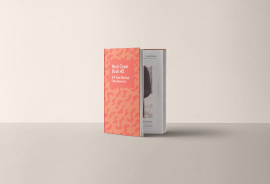 Free Download Standing Hardcover Book A5 Mockup PSD