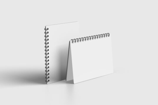 Free Download Two Spiral Notepad Mockup PSD