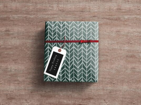 Free Download Wrapped Gift Box Mockup PSD