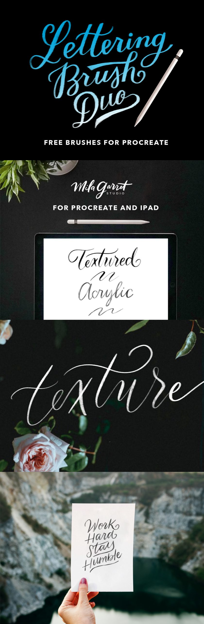 Free Download 2 Style Lettering Procreate Brush, Great quality and easy to use this brushes for your awesome design project. High resolution. 100% free!