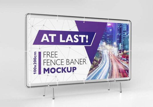 Free Download Various Fence Banner Mockup PSD