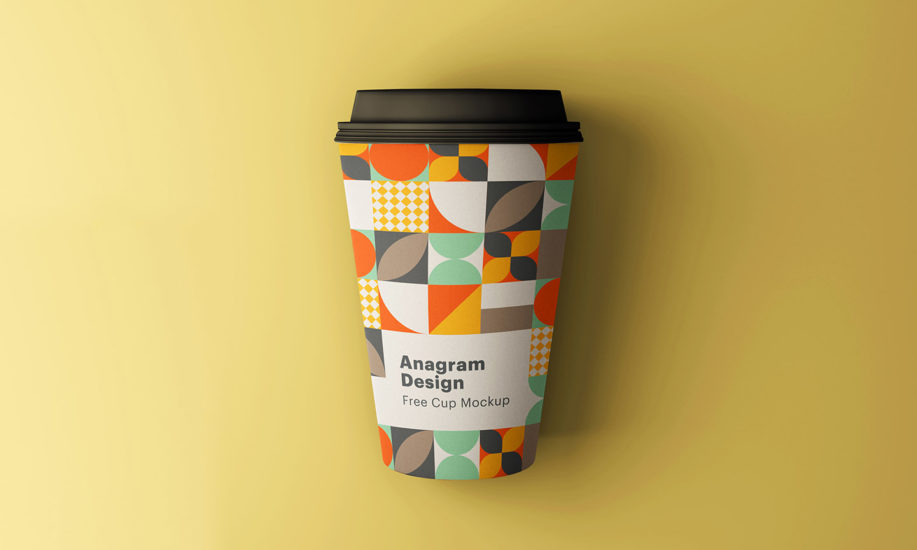 Free Download Coffee Paper Cup with Lid Mockup PSD