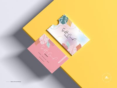 Free Download Colorful Gift Card Mockup PSD