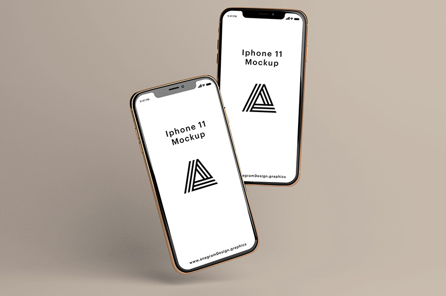 Free Download Gold iPhone 11 Mockup PSD