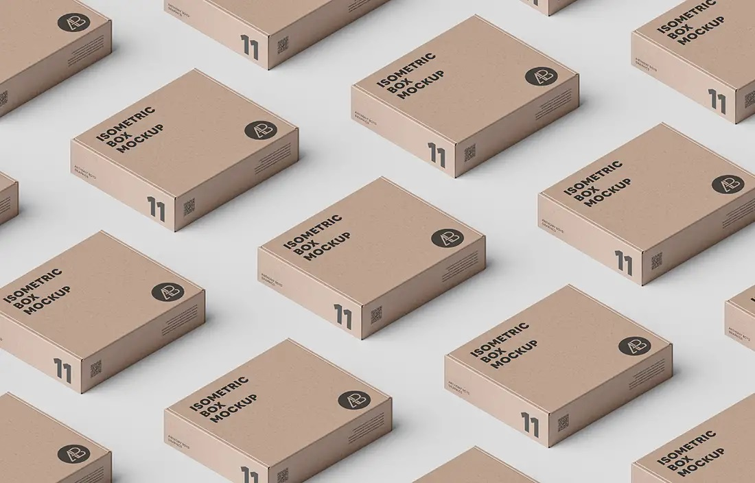 Free Download Isometric Pizza Box Packaging Mockup PSD