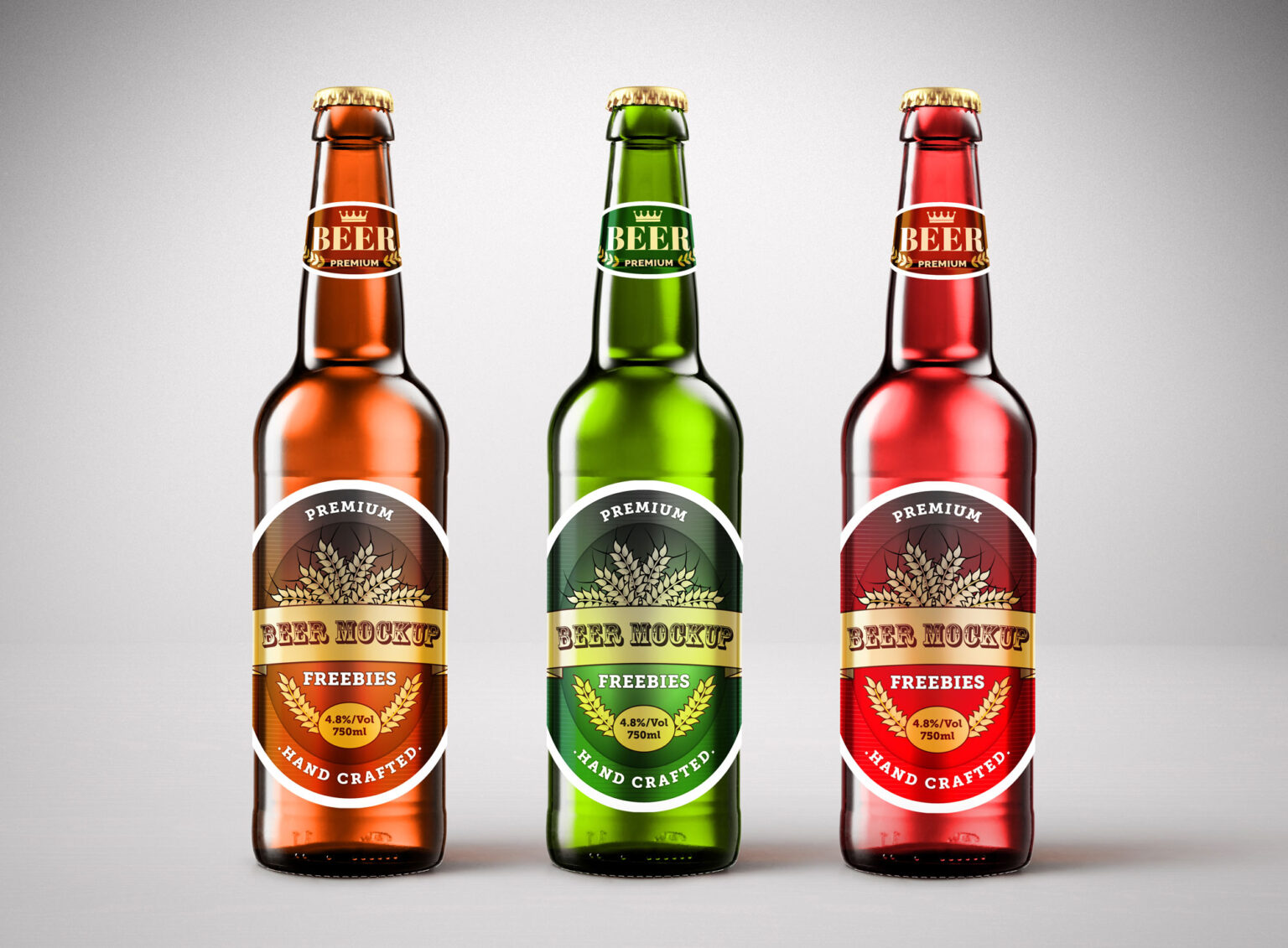 Free Download Three Colors Beer Bottle Mockup PSD, Great quality and easy to use this mockup for your awesome design project. High resolution Photoshop. 100% free!