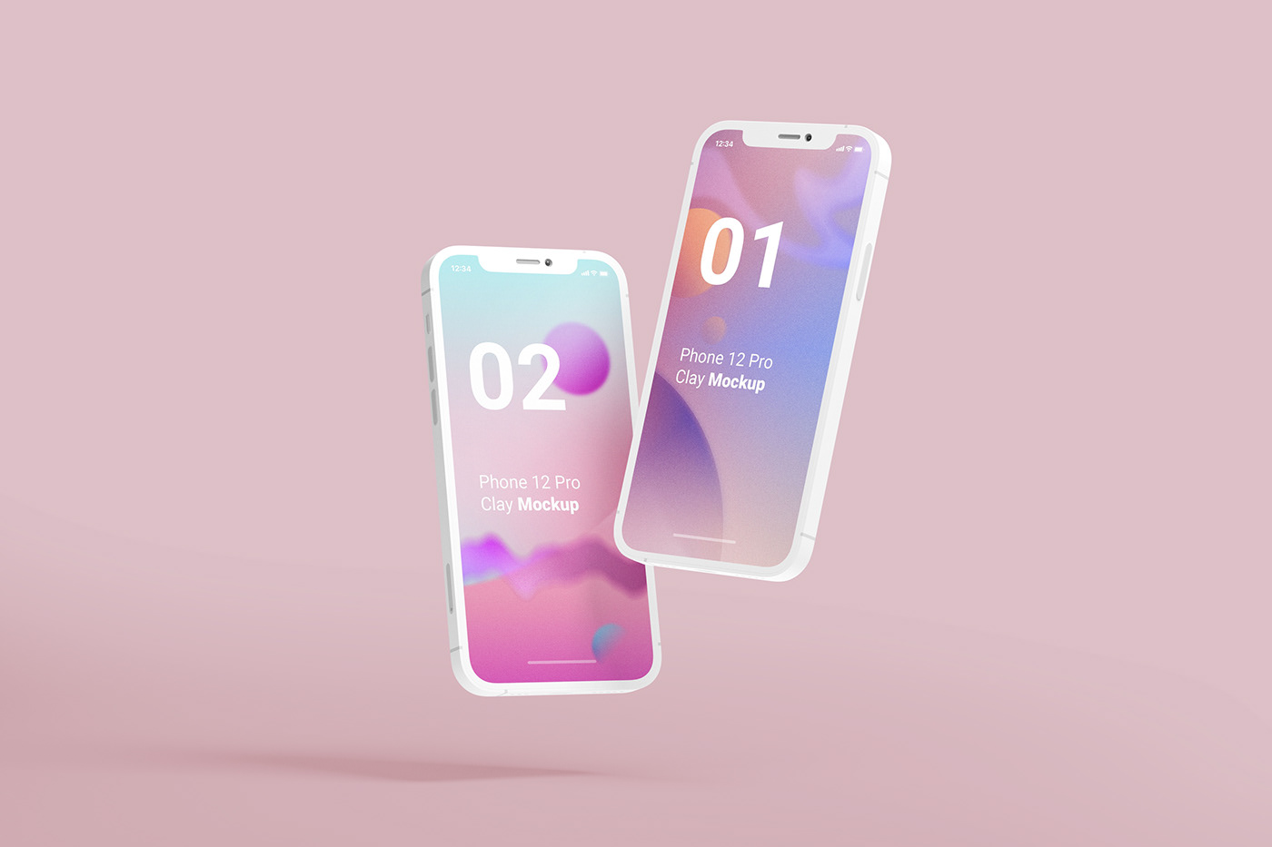 Free Download iPhone 12 Pro Clay Mockup PSD