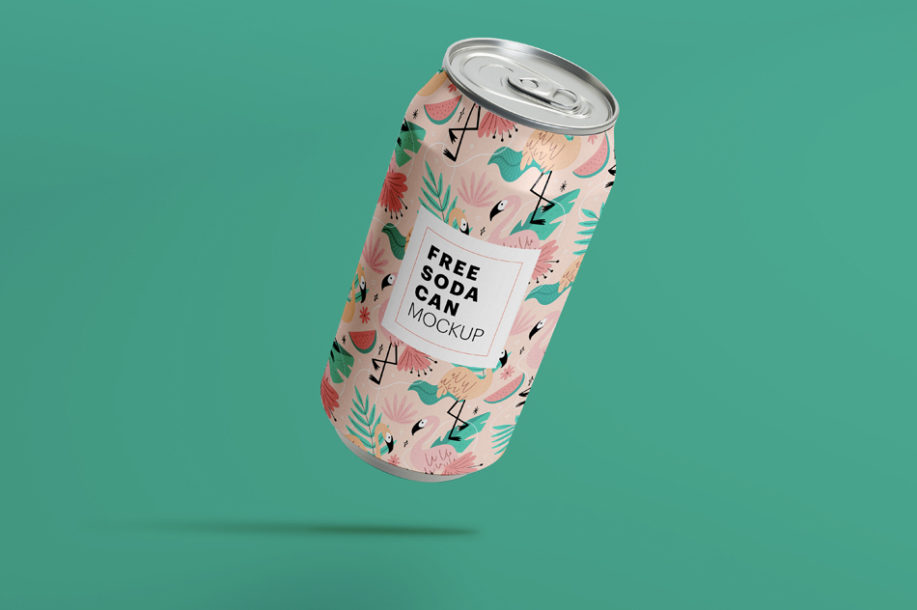 Free Floating Soda Can Packaging Mockup PSD