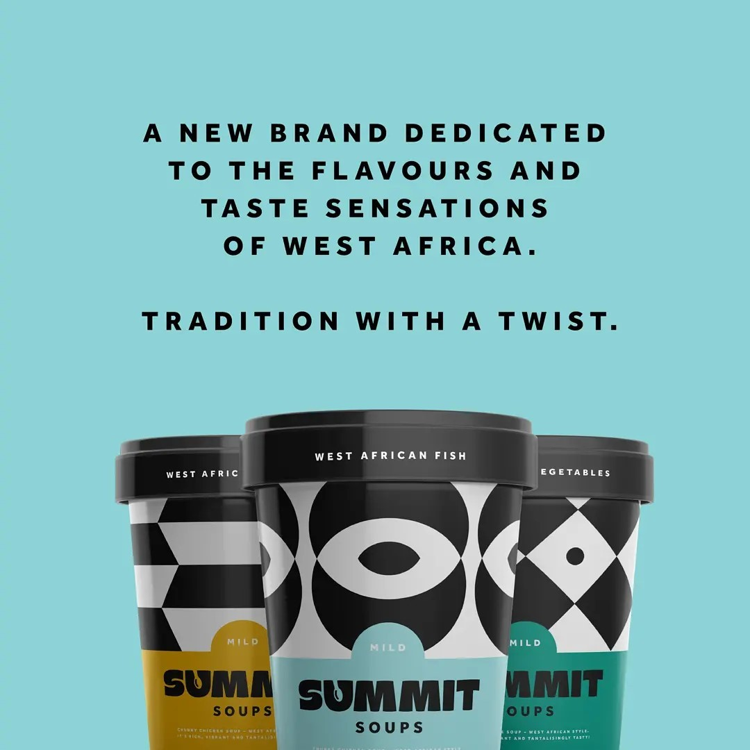 Summit Soups is a new range of West African Foods. We were tasked with putting a modern twist on the heritage of its founder Sam Adarkwa. One of the upcoming and largely unexplored cuisines, West African food is poised to hit the big time with things like pepper soup, jollof rice and shito sauce making headlines in the food press. Summit Soups is a bold and colourful new brand, with graphics inspired by Kente patterns. Tradition with a twist.