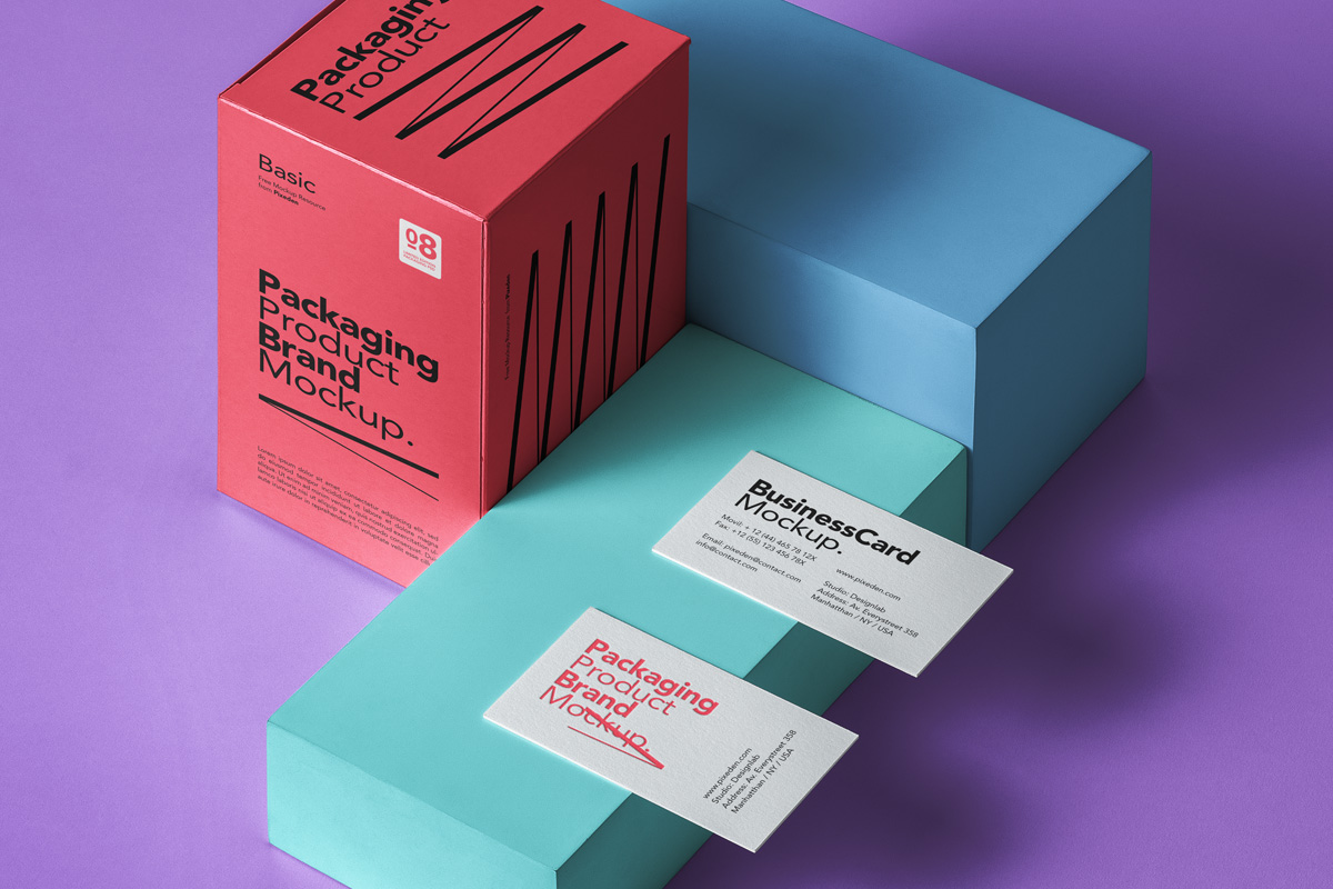Free Download Card and Box Product Packaging Mockup PSD
